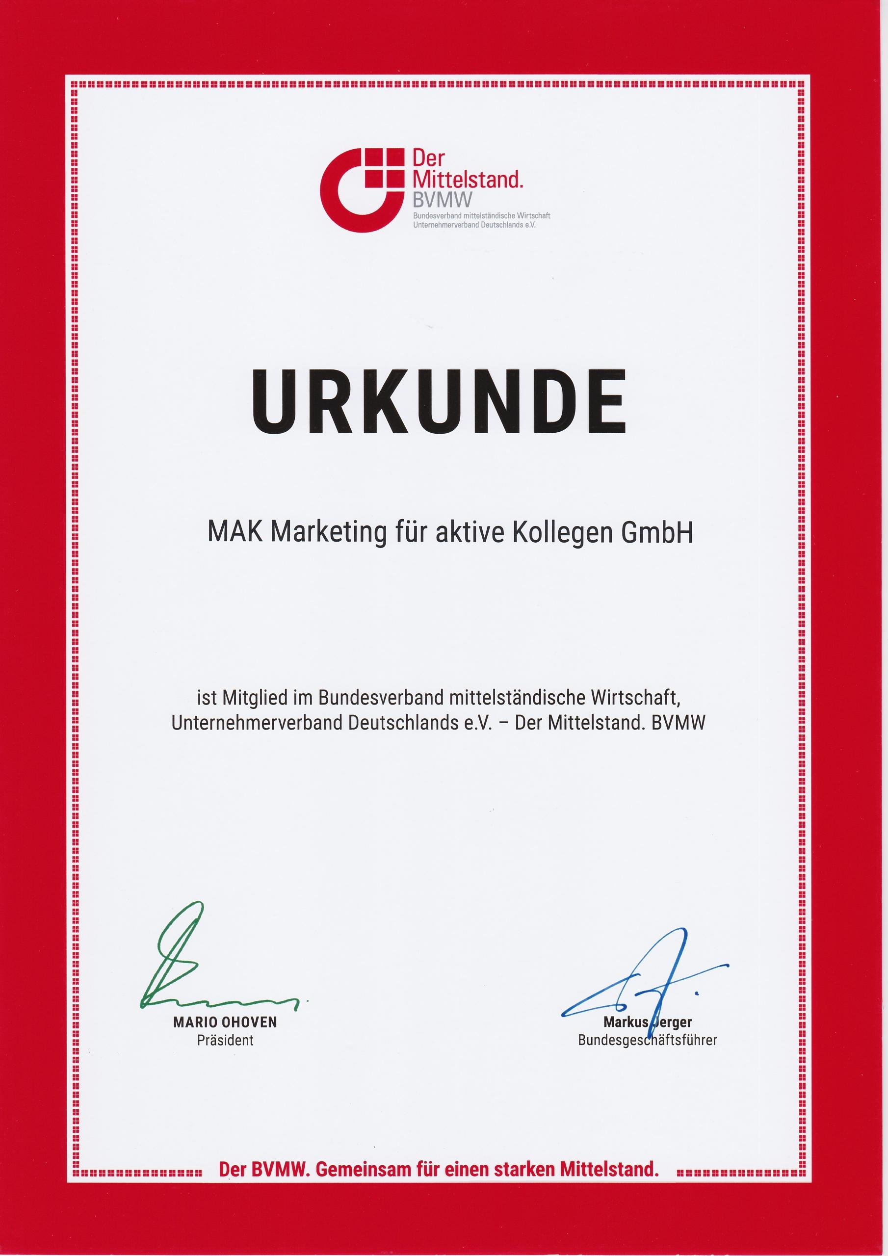 MAK Apothekenmarketing Urkunde